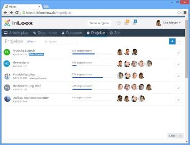 Projektübersicht in InLoox now! Web App