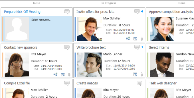 Optimize your agile project management and organize your work with the InLoox Kanban Board