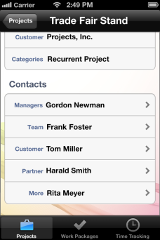 Project contacts - InLoox Mobile Apps