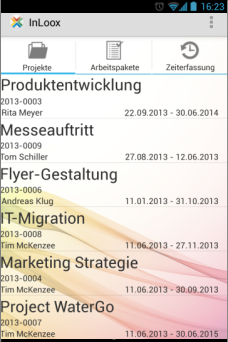 Projektliste - InLoox Mobile Apps