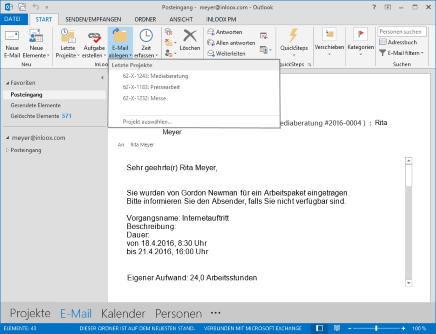 E-Mails projektbezogen ablegen