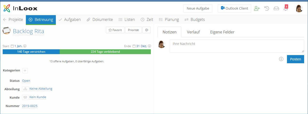 Organisieren Sie persönliche Aufgaben über ein Backlog Projekt in InLoox
