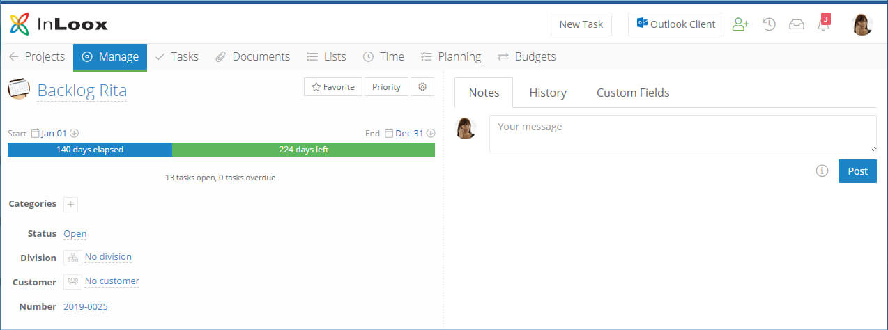 Organise your personal task using via a specific backlog project in InLoox