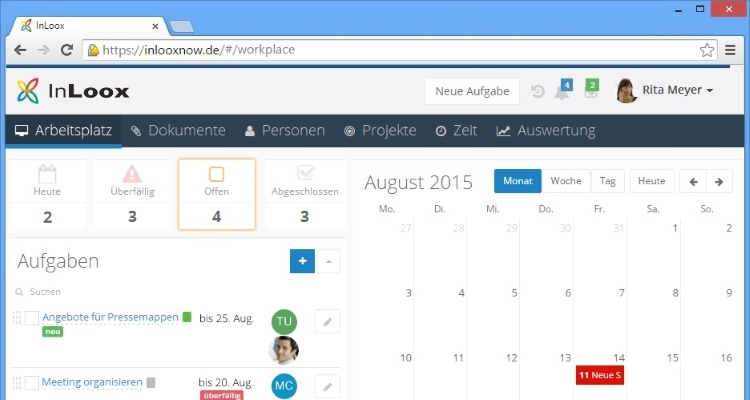 Projektmanagement Software InLoox now! Web App Arbeitsplatz