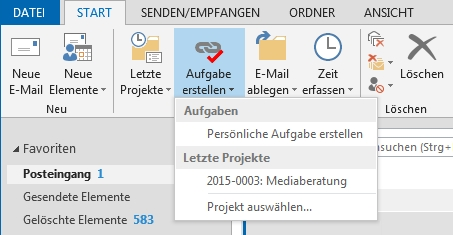 Projektmanagement Software InLoox in Outlook Einfache Bedienung