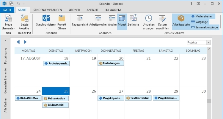 Projektmanagement Software InLoox in Outlook Globaler Kalender