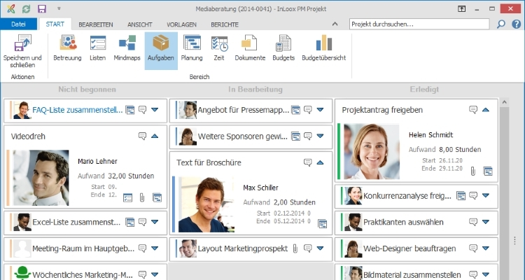 Projektmanagement Software InLoox in Outlook Kanban