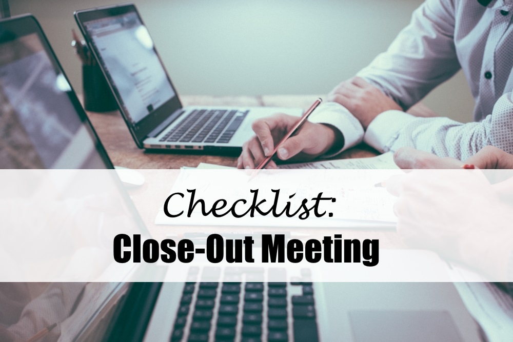 Checklist Close-Out Meeting