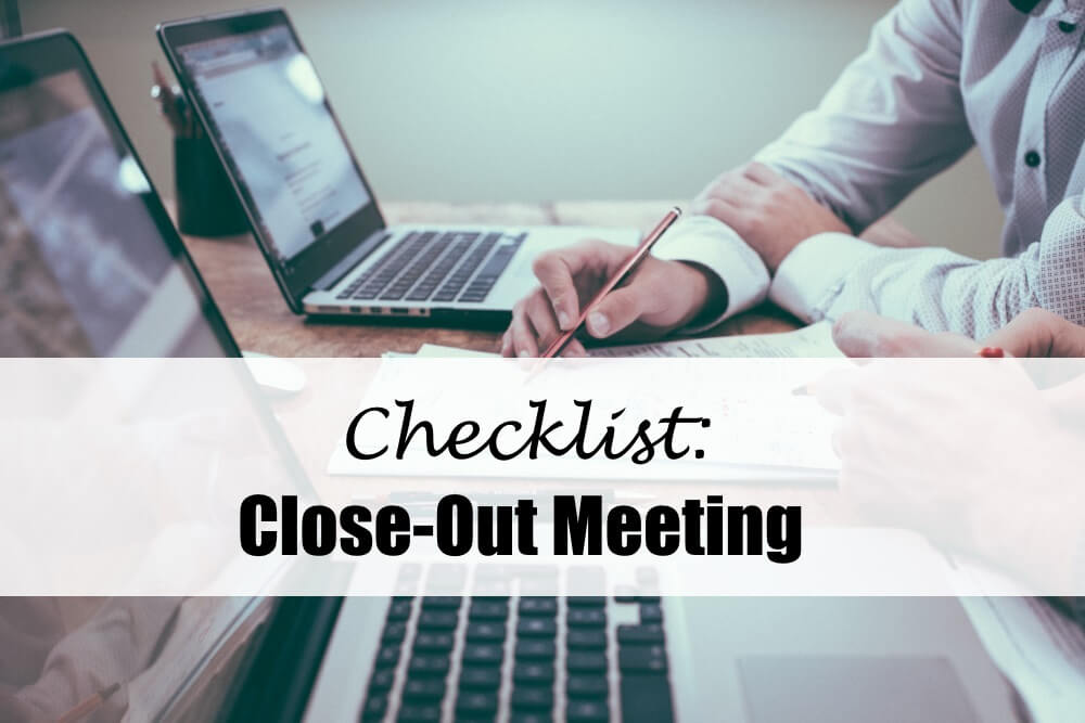 Check List CloseOut Meeting Completing A Project Successfully