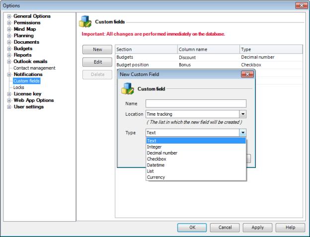 Benutzerdefinierte Felder in InLoox PM