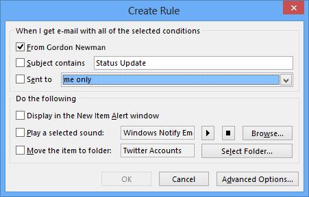 Create inbox rules in Outlook