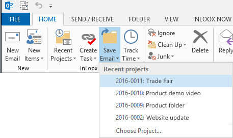 Save mail to project with InLoox for Outlook