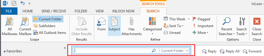 Outlook Search Toolbar