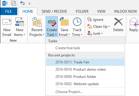 Transform mail into task with InLoox for Outlook