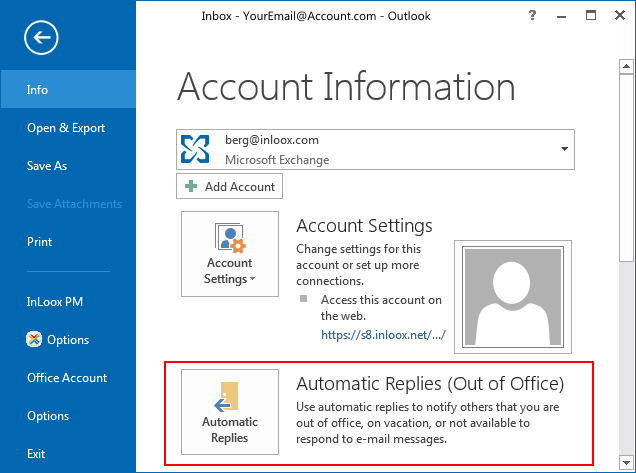 Activate Out of Office-Replies in Microsoft Outlook