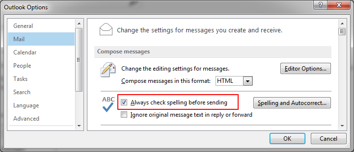 Activate Spelling and Autocorrection in Microsoft Outlook