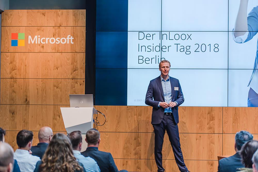 InLoox Insider Tag 2018 in Berlin: Begrüßung der Teilnehmer durch InLoox Geschäftsführer und Gründer, Dr. Andreas Tremel