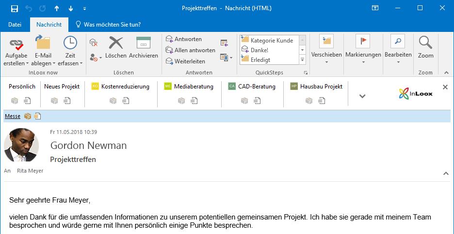 InLoox 10: Mit der Ein-Klick-Leiste können Sie, wie der Name schon sagt, mit nur einem Klick eine E-Mail als Aufgabe oder Dokument im Projekt ablegen.