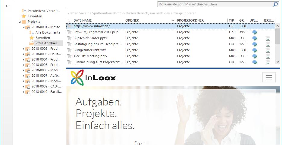InLoox 10: In der Dokumentenvorschau können Sie sich durch gespeicherte Webseiten