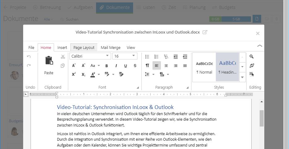 InLoox 10: In InLoox Web App können Sie Dokumente direkt im Browser bearbeiten und speichern