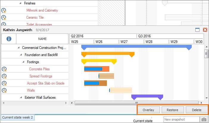 InLoox Best Practice 1_Overlay, Restore or Delete your snapshot