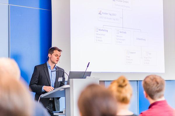 """InLoox Insider Tag 2017: Vortrag """"Individuelles InLoox - Die Dokumentenstruktur für das Unternehmen anpassen"""" von InLoox Entwickler Martin Grünert"""