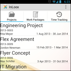 InLoox Mobile Apps - Project list
