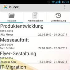 InLoox Mobile Apps - Projektliste