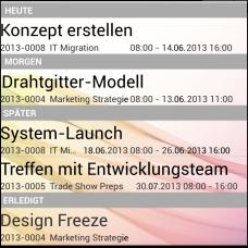 InLoox Mobile Apps - Arbeitspaketliste