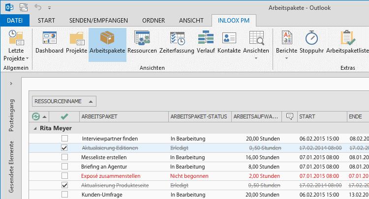 InLoox PM 8.2.3 Arbeitspaket in der Zeile bearbeiten