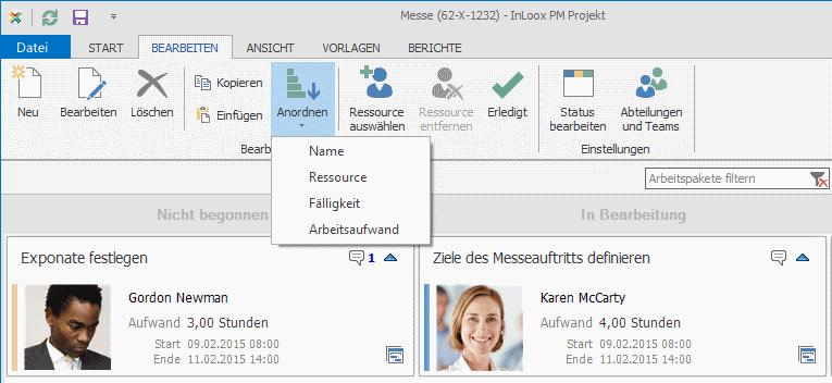 InLoox PM 8.2.3 Arbeitspakete anordnen