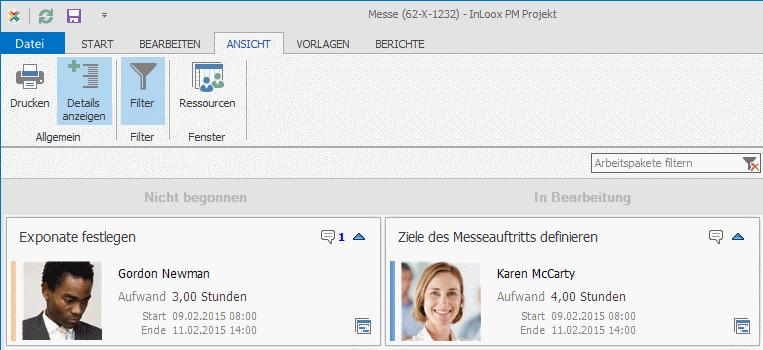 InLoox PM 8.2.3 Kanban-Ansichtsoptionen