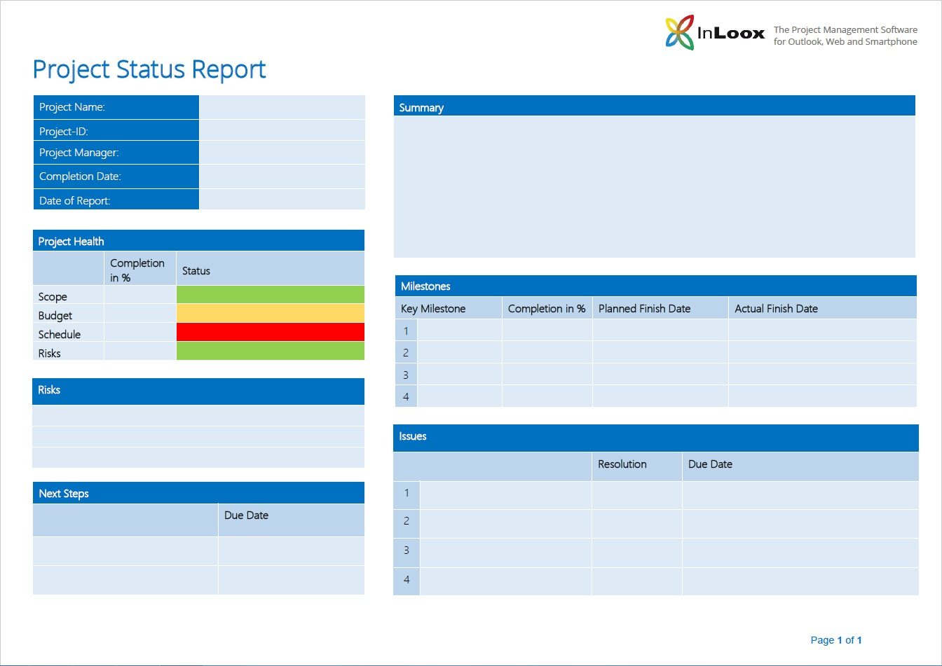 project management status report example