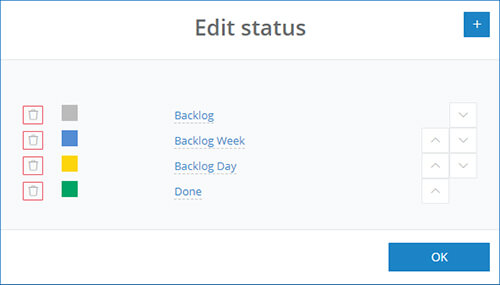 How to edit the Kanban status in InLoox Web App