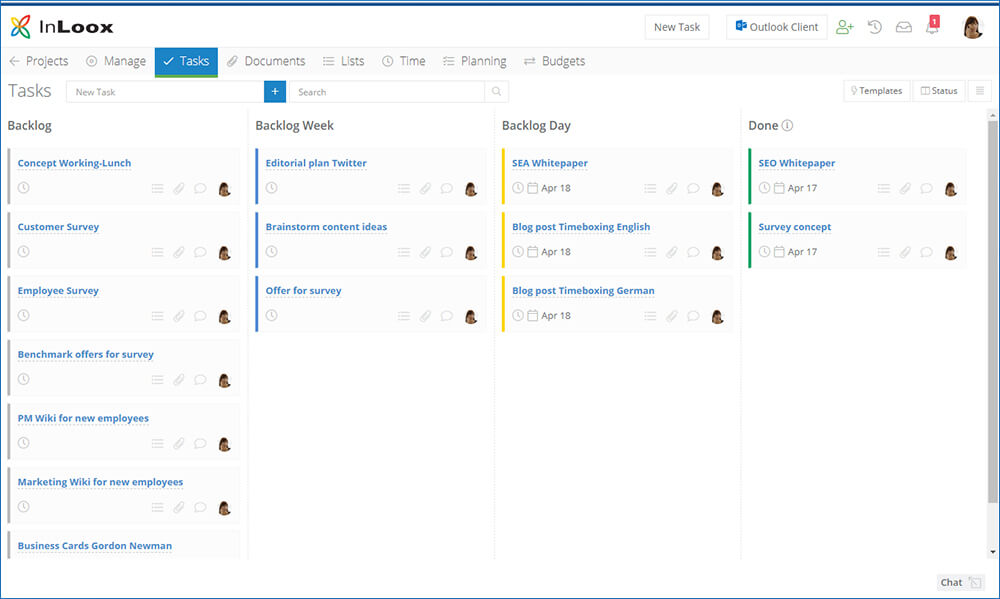 Organization of the backlog project is done via the Kanban Board (here InLoox Web App)