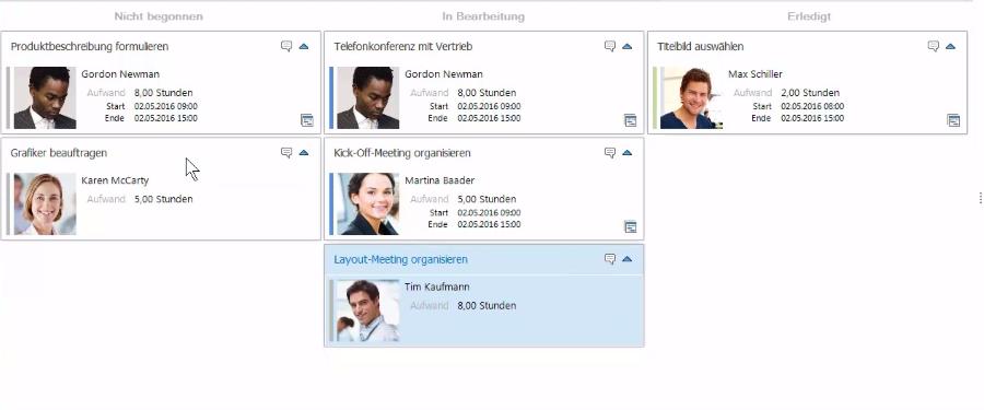 Die Kanban Ansicht in InLoox 9 für Outlook