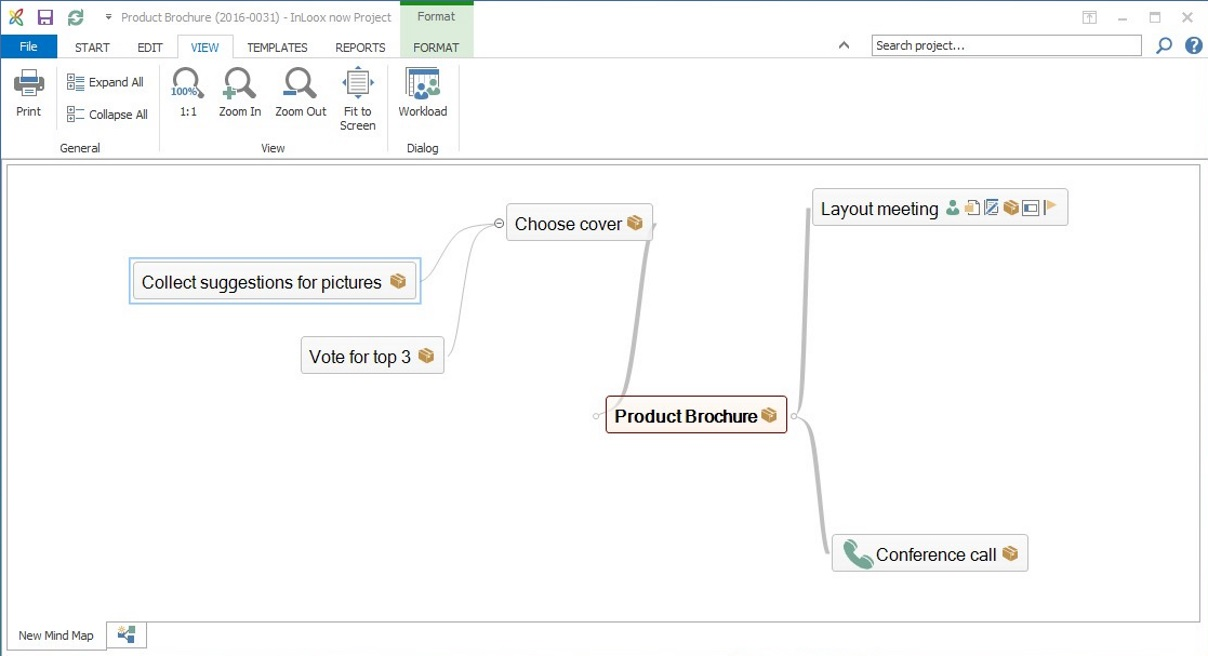Mind Maps in InLoox 9 for Outlook