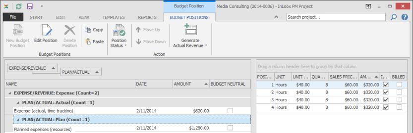 Budget positions list