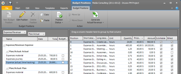 Context Menu Budget Positions List