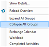 Context menu for resources
