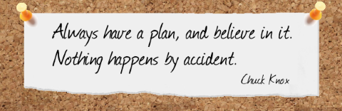 Famous Project Planning Quotes: Always Have a Plan; Nothing Happens by Accident. - Cuck Knox