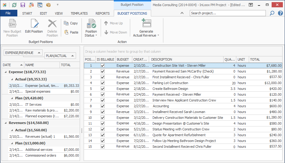 Track Expenses and Revenues with InLoox PM Work Management Software