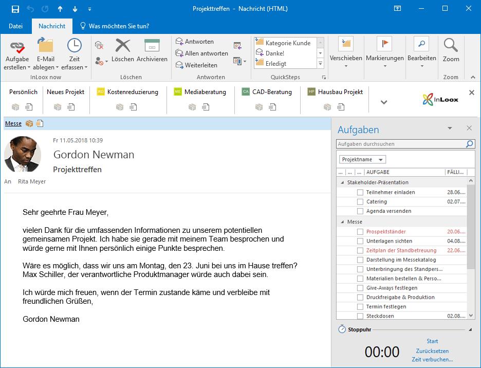InLoox 10 für Outlook: InLoox ist nahtlos in die Microsoft Outlook-Umgebung integriert