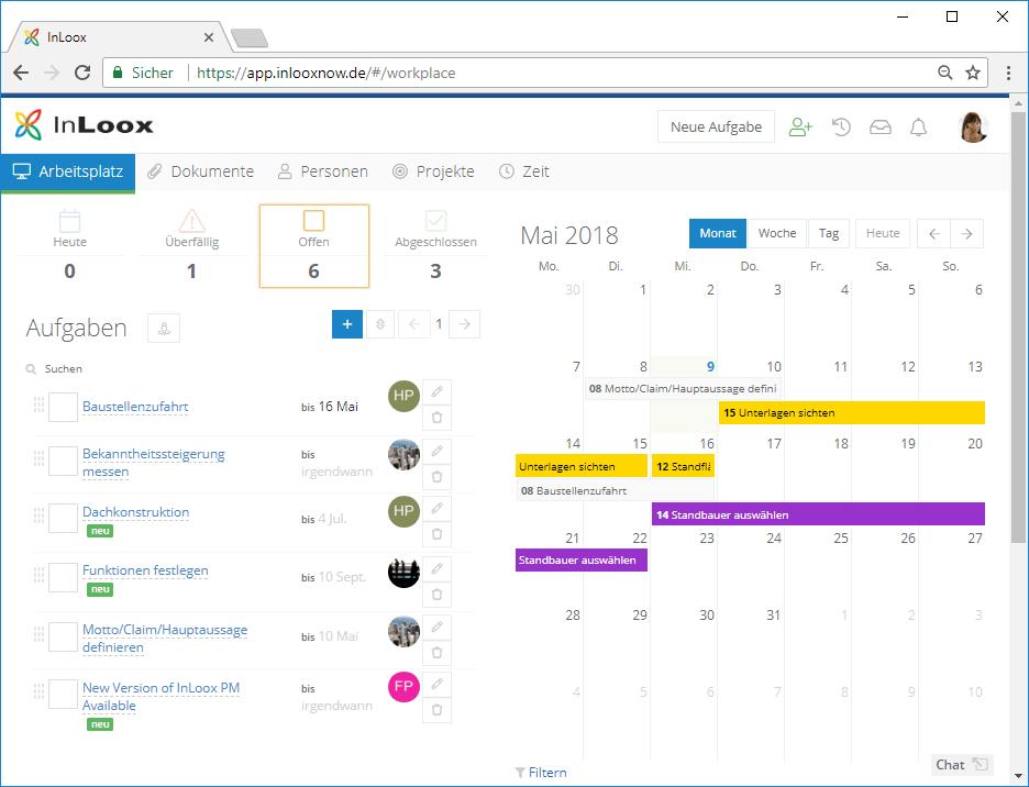 InLoox Web App: Der Arbeitsplatz