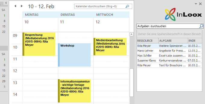 InLoox Kalendertermine