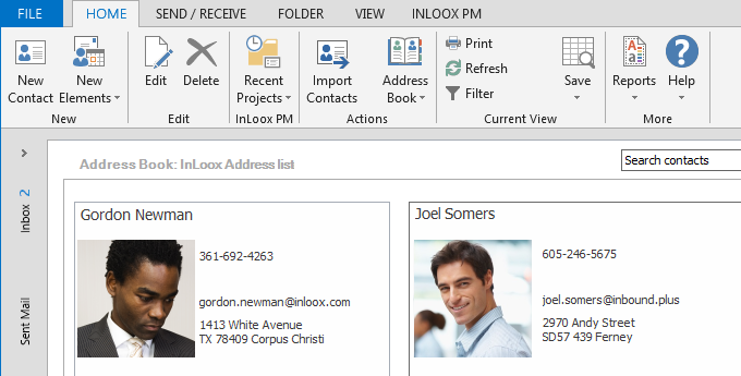 InLoox 9 Contact View