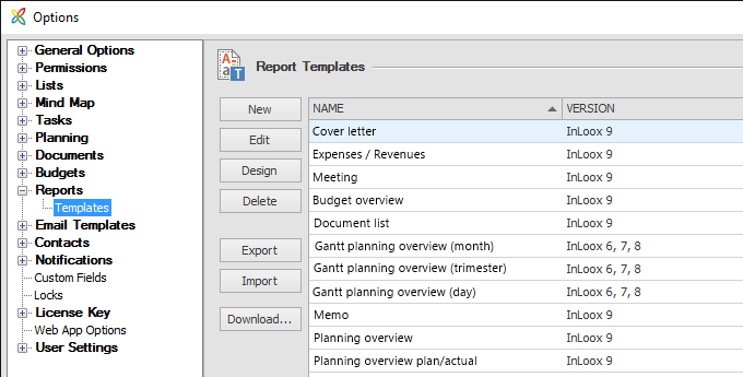 InLoox 9 Different Report Types