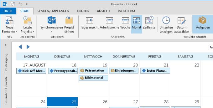 InLoox Globaler Kalender