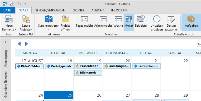 InLoox 9 Globaler Kalender