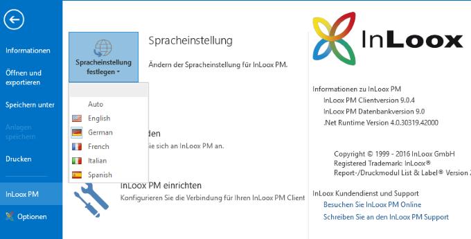 InLoox 9 Mehrsprachige Benutzeroberfläche